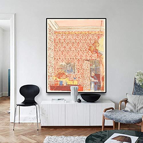 Canvas olieverfschilderij interieur decoratie met roze behang art poster foto wanddecoratie woondecoratie