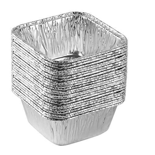 Plasticpro Disposable 4.25'' X 4.25 X 2'' Inch Square Aluminum Tin Foil Baking Pans Bakeware - Cookware Perfect for Baking Cakes,Brownies,Bread, Meatloaf, Lasagna, Pack of 25