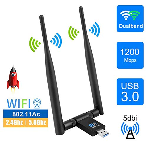EasyULT WLAN Stick, USB 3.0 WLAN Adapter 1200Mbps WiFi Dongle Dualband 2.4/5.8 GHz Wireless Netzwerk Adapter mit 2 x 5dBi Antenne WiFi Empfänger für Windows/Mac OS/Linux/Desktop/PC/Laptop