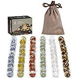 Yellow Mountain Imports 60 Canicas de Cristal Translúcidas con Pétalos para Damas Chinas, 14 milímetros