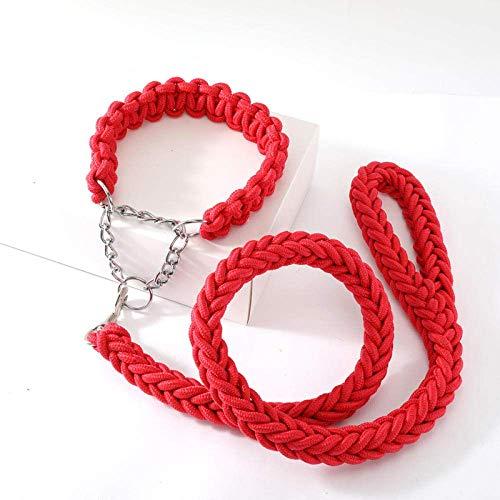 YYhkeby 1.3m Große Fressnapf Hundeleinen Metallkette Buckle doppelte Strang Zugseil Collar Set for Medium Big Dogs-Red Set_XL Jialele (Color : Red Set, Size : M)
