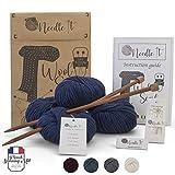 Needle It – Kit Completo per Principianti con Ferri da Maglia – Sciarpa in Lana per Maglieria - Idea Regalo (Blue Marino)