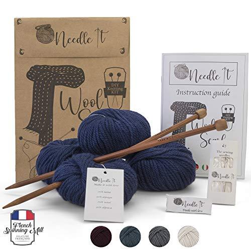 Needle It - Kit completo para tejer lana principiantes - Bufanda de lana - Idea de regalo (Azul Marino)