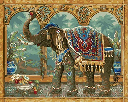 FGHJSF Pintar por Numeros Elefante Nacional Lienzo Pintura al óleo para Adultos y Niños DIY Pintura al Óleo por Números Decoración del Hogar - 40 x 50 cm (Sin Marco)