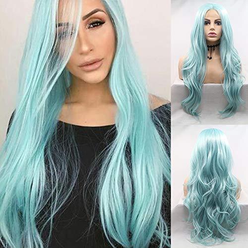 Am besten Blaue synthetische Spitze-Front-Perücken für Frauen geben Teil-lange wellenförmige Haar-Perücke mit der Baby-Eis-blauen synthetischen Spitze-Perücke der vollen Dichte für Cosplay-Teil