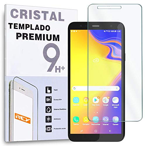REY Protector de Pantalla para Samsung Galaxy J4 Plus 2018 - J6 Plus 2018 - J4 Core, Cristal Vidrio Templado Premium