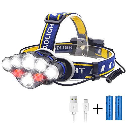 ヘッドライト Lukasu USB充電式 LEDヘッドランプ 超高輝度 18000ルーメン IPX4防水 軽量 へっとライト8つ点灯モード 90°調整可能 夜釣り/登山/防災/キャンプ