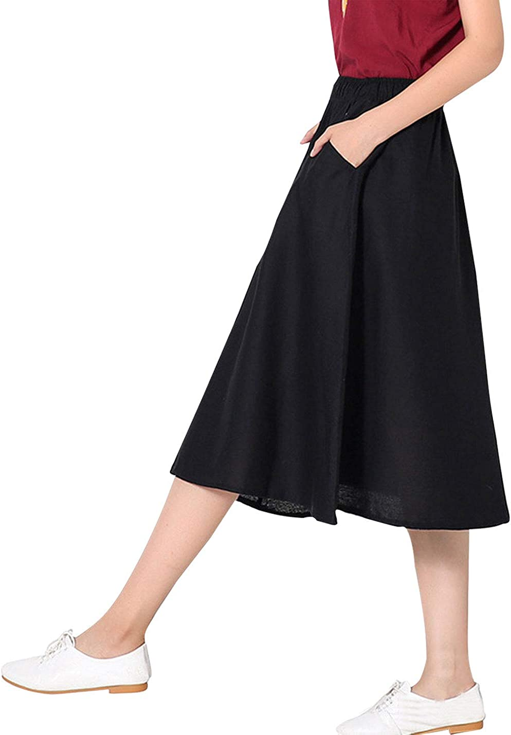 Omoone Women's Elastic Waist Casual Loose Cotton Swing A Line Pleated Skirts