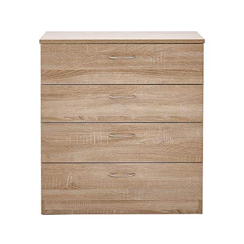 Cajonera Keinode con 4 cajones grandes, acabado de madera, con asas de...