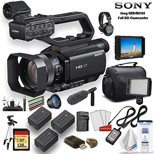 Sony HXR-MC88 Full HD Camcorder W/Case, 2 Extra Batteries, Sony Shotgun Mic, 64GB Memory Card, Sony Headphones, External 4K Monitor, LED Light, Cleaning Set and More - Vlogging Bundle