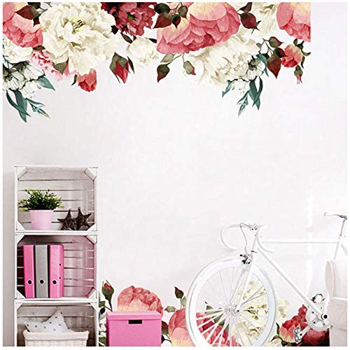 Vintage Lavender Peony Wall Stickers Room Decal Mural Home Decoration Children's Room Girl Gift 45x60cm