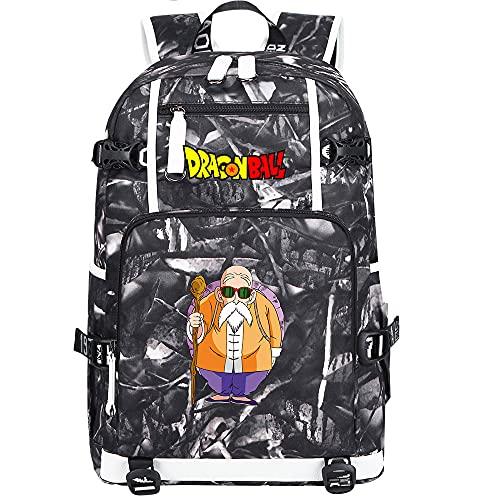 ZZGOO-LL Dragon Ball Super Son Goku/Vegeta IV/Master Roshi Shoulder Bag Outdoor Backpack for Plenty of Storage Bag USB Unisex-E