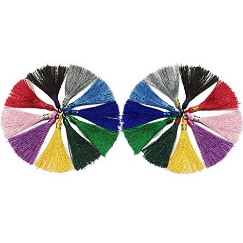 chiwanji Colgantes de Borla de Seda Multicolor de 20 Piezas con Lazo para Hacer Joyas DIY
