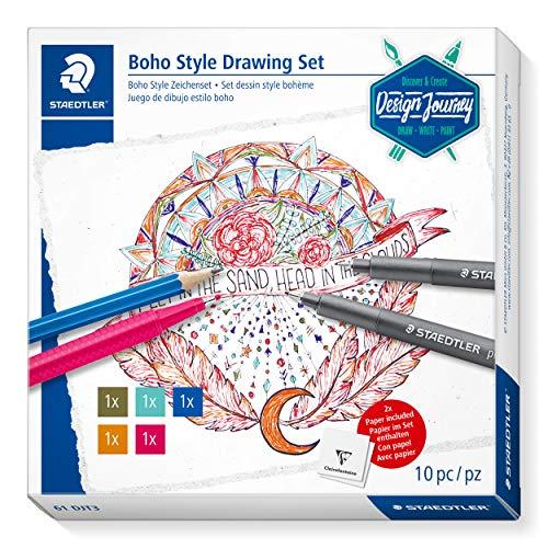 STAEDTLER Boho Style Zeichenset, Komplett-Set zum Erstellen einer Zeichnung im farbenfrohen Boho-Style, 61 DJT3