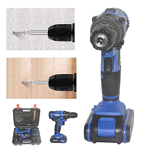 21V Cordless Drill Driver Built- in Work Light, Max Torque 45Nm, 3/8 Inch Keyless Chuck, 18+1 Position, Speed 0-350RPM / 0-1400RPM, 1.5Ah Battery and Charger Included