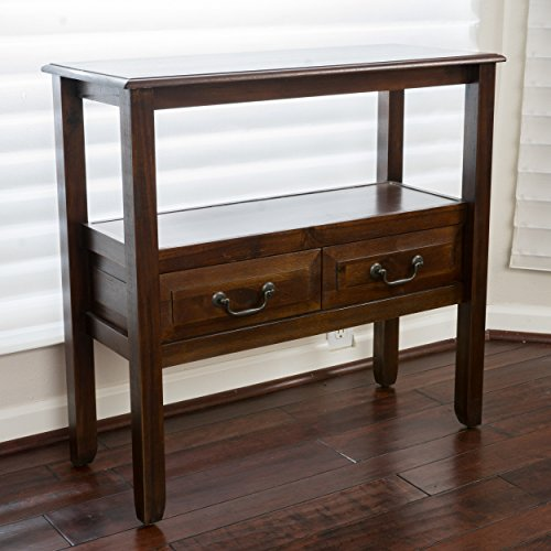 Modern Rustic Acacia Wood Accent Console Table with Shelf and 2 Drawer - Includes Modhaus Living Pen (Brown Mahogany)