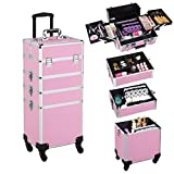 Yaheetech Large 4 in 1 Cosmetics Case Beauty Makeup Case Trolley Box Nail art Storage Jewelry Luggage Cases