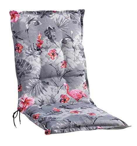 Sesselauflage Sitzpolster Gartenstuhlauflage für Mittellehner | 50 cm x 110 cm | Grau | Flamingomotiv | Baumwolle | Polyester