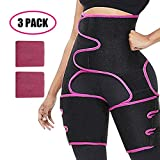HIFEOS 3-in-1 Waist and Thigh Trimmer, Waist Trainer for Women & Men, Adjustable Hip Enhancer for Indoor & Outdoor Sports, 2Pcs Wristbands (Rose Red-High Waist, L/XL)