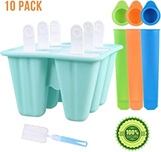 MORGENLICHT 10 Pack Popsicle Molds Silicone Ice Lolly Moulds DIY Ice Cream Pop Molds Reusable Ice Lolly Makers with Brush