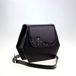 RJW Outdoor Business Lady Bag Creative Shoulder Bag/Messenger Bag/Leather Leather Carving Bag Fashion (Color : Black)