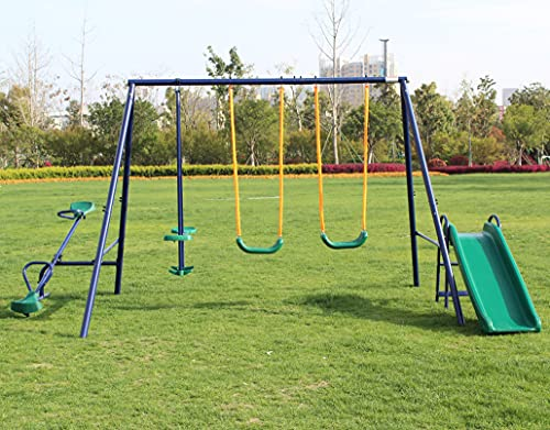 KL KLB Sport Metal Outdoor Swing Set with Glider, Slide and Teeter-Totter for Kids, Toddlers, Children, Max Weight 700 LBS, 100 LBS Each
