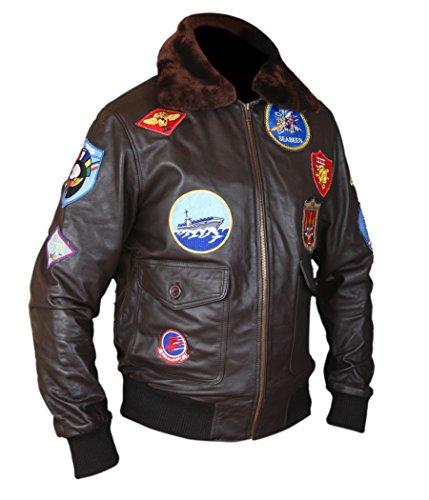 F&H Men's Top Gun Pete Maverick Tom Cruise Genuine Leather Bomber Jacket