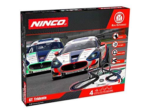 Ninco - WRC GT Tridente. Circuito Slot Escala 1:43 con Puentes y loopings. 8 m. Incluye 2 Coches con Luces. 91016