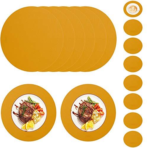 HAOXIANG Juego De 8 Manteles Individuales De Piel Sintética De Color Jengibre, con 8 Posavasos PU, Impermeable, Resistente Al Calor, Antideslizante, para El Hogar, Cocina, Restaurante