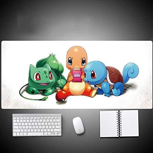 DJFT Tapis de Souris Pokémon Gaming Mouse Pad Anime Charmander Squirtle Bulbizarre surdimensionné Clavier étendu Tapis de Souris Jeu Tapis de Bureau Accueil Non-Slip PC de Bureau Table de Souris