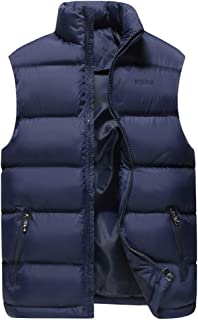 Men Vest Solid Color Stand Collar Puffer Clothing Autumn Winter Warm Thin and Light Waistcoat Soft Comfortable Zippered Wa...