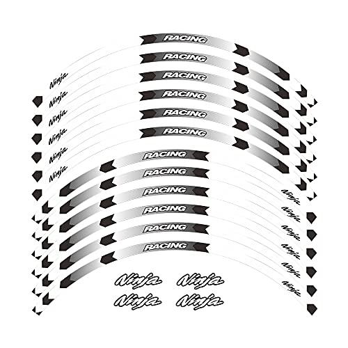 Elegantes Adhesivos Impermeables para Llantas, adecuados para Llantas con un diámetro de 17 Pulgadas, Hermoso Papel para decoración de Llantas For Kawasaki Ninja All Years (Blanco)