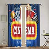 Cortinas Punch,Blue Movie Cinema Popcorn Drink Clapping Board Cinematograph Realistic Film Reel Living Room Bedroom Window Drapes 2 Panel Set,104 WX 72 L Inches