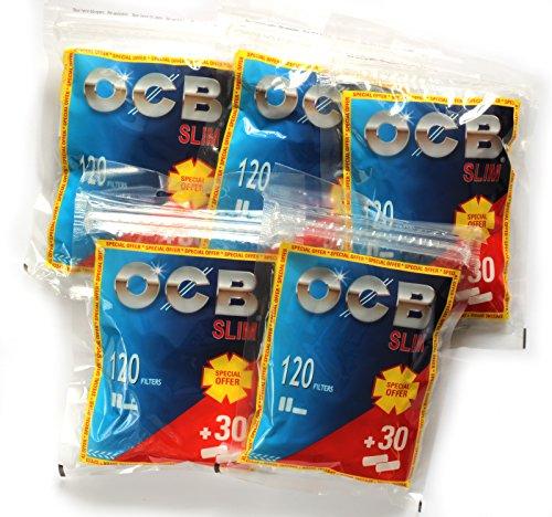 OCB Slim Cigarette Filter Tips - 5 x 150 Filters