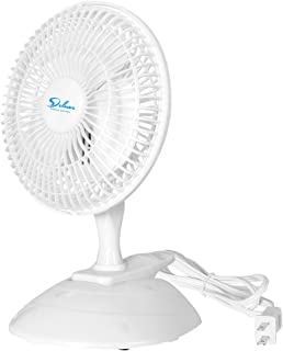 Simple Deluxe 6 Inch Clip on Desk Removable Pedestal and Fully Adjustable Tilt Personal Table Fan for Home Office, White