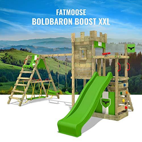 FATMOOSE Spielturm Ritterburg BoldBaron mit Schaukel, SurfSwing & apfelgrüner Rutsche, Spielhaus mit Sandkasten, Leiter & Spiel-Zubehör - 6