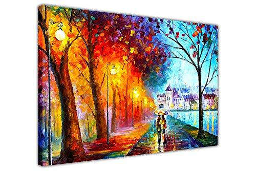 """Ölgemälde-Nachdruck auf Leinwand """"City By The Lake"""" von Leonid Afremov, auf Rahmen, canvas, 04- 30"""