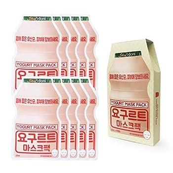 SKIN S BONI Yogurt Mask Sheet K-beauty Brightening and Hydrating Anti-Wrinkle - 10 Sheets