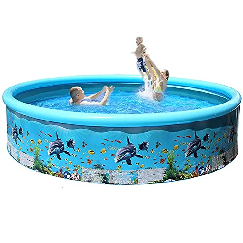 ZzWEI Inflatable Swimming Pool, Full-Sized Above Ground Kiddle Family Summer Lounge Pool for Adult, Kids, Toddlers, Blow Up for Backyard, Garden, Party, Blue,1.25M