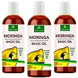 MoriVeda® -Aceite de Moringa Basic 300ml, prensado de Oleifera Seeds and Pods, adecuado para el cuidado de la piel, cuidado del cabello, cuidado de heridas, antienvejecimiento (3x100ml)