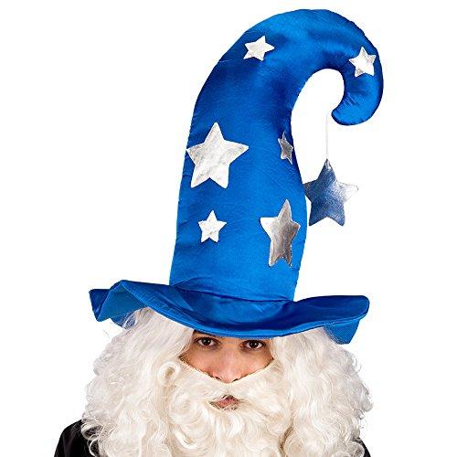 Carnival 06126 - Cappello Mago con Stelle, Altezza 45 cm, Blu