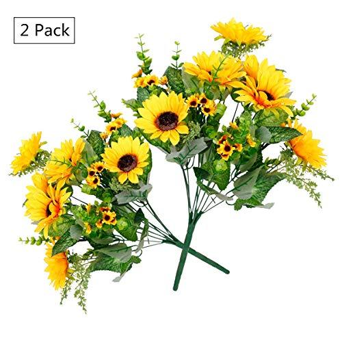 Tifuly 2 Pack 12 Köpfe Künstliche Sonnenblumen, Realistische Seide Gefälschte Sonnenblumenstrauß für Home Hotel Büro Hochzeit Garten Dekor, Blumenarrangement, Tischdekoration