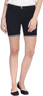 Broadstar Women Denim Black Shorts