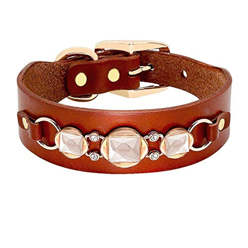 YHYHNE Dog Collar Leather Dog Collar French Bulldog Rhinestone Pet Collar Perro for Small Medium Dogs Metal Accessories Pet Collars,1,S Lovely