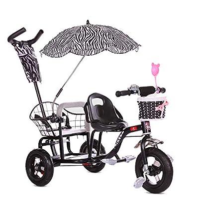 CHEERALL Bicicleta de Triciclo Doble para niños, Cochecito de bebé Doble con Pedal Plegable, Cochecito de Doble Cochecito de Verano para niños de 1 a 6 años de Edad
