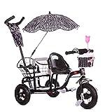 CHEERALL Vélo Tricycle Double pour Enfants Poussette jumelle avec pédale Pliante , Poussette pour bébé en été Buggy à siège Double pour Enfants de 1 à 6 Ans,Black