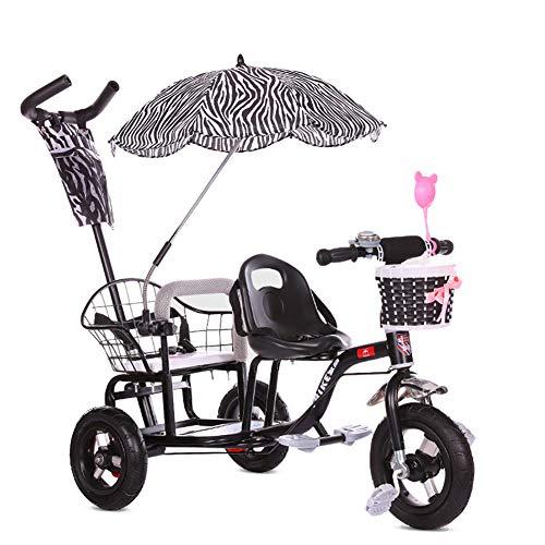 CHEERALL Kinder-Doppel-Dreirad-Fahrrad, Doppel-Kinderwagen mit Klapppedal, Sommer-Kinderwagen-Doppelsitz für Kinder im Alter von 1-6 Jahren,Black