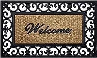 Achim Home Furnishings WRM1830FL6 Fleur De Lis 錬鉄ラバードアマット 18 x 30インチ ブラック/ブラウン (#.1-パック(ブラック/ブラウン))