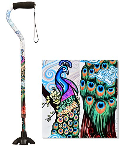 NOVA Sugarcane Walking Cane with All Terrain Rubber Quad Tip Base and Carrying Strap Proud Peacock Design