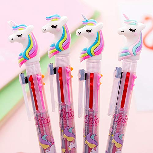 Lote de 4 bolígrafos de 6 colores con diseño de unicornio retráctil